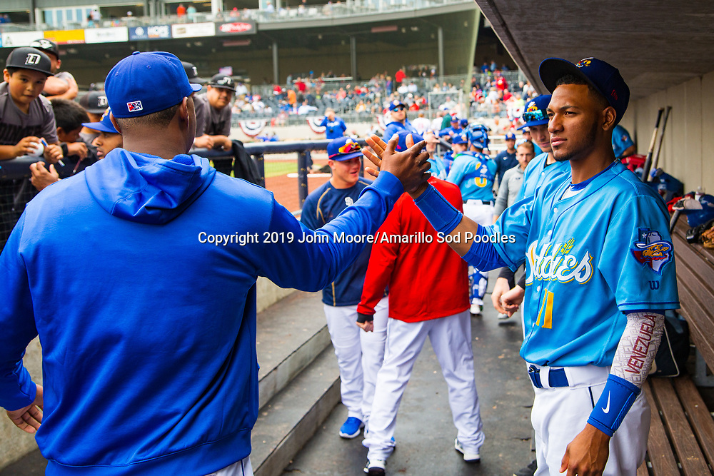 Amarillo Sod Poodles outfielder Edward Olivares (11) before the game against the Midland RockHounds on Sunday, May 26, 2019, at HODGETOWN in Amarillo, Texas. [Photo by John Moore/Amarillo Sod Poodles]