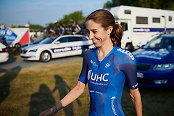 Katie Hall (USA) prepares for La Course by Le Tour de France 2018, a 112.5 km road race from Annecy to Le Grand Bornand, France on July 17, 2018. Photo by Sean Robinson/velofocus.com