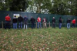 14 September 2017 -  UEFA Europa League (Group H) - Arsenal v FC Koln - FC Koln fans urinating against a fence in Islington - Photo: Mark Leech/Offside