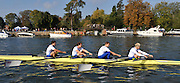 Henley, Great Britain, left to right, Tom JAMES, Steve WILLIAMS, Peter REED and Andy TWIGGS HODGE, Row past through the town from the RRM to UTRC,  Olympic celebration, on Sat 11.10.2008. [Mandatory Credit: Peter Spurrier]