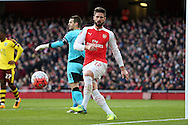 Olivier Giroud of Arsenal in action. The Emirates FA cup, 4th round match, Arsenal v Burnley at the Emirates Stadium in London on Saturday 30th January 2016.<br /> pic by John Patrick Fletcher, Andrew Orchard sports photography.