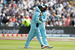 June 21, 2019 - Leeds, Yorkshire, United Kingdom - Moeen Ali and Adil Rashid of England celebrate after Rashid caught Thisara Perera during the ICC Cricket World Cup 2019 match between England and Sri Lanka at Headingley Carnegie Stadium, Leeds on Friday 21st June 2019. (Credit Image: © Mi News/NurPhoto via ZUMA Press)