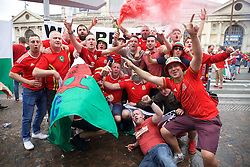 LILLE, FRANCE - Friday, July 1, 2016: Wales supporters in the centre of Lille ahead of the UEFA Euro 2016 Championship Quarter-Final match against Belgium at the Stade Pierre Mauroy. (Pic by Paul Greenwood/Propaganda)
