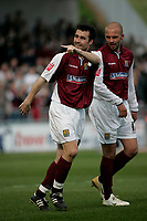 Photo: Marc Atkins.<br /> <br /> Northampton Town v Stockport County. Coca Cola League 2. 17/04/2006. Scott McGleish celebrates his 1st goal.