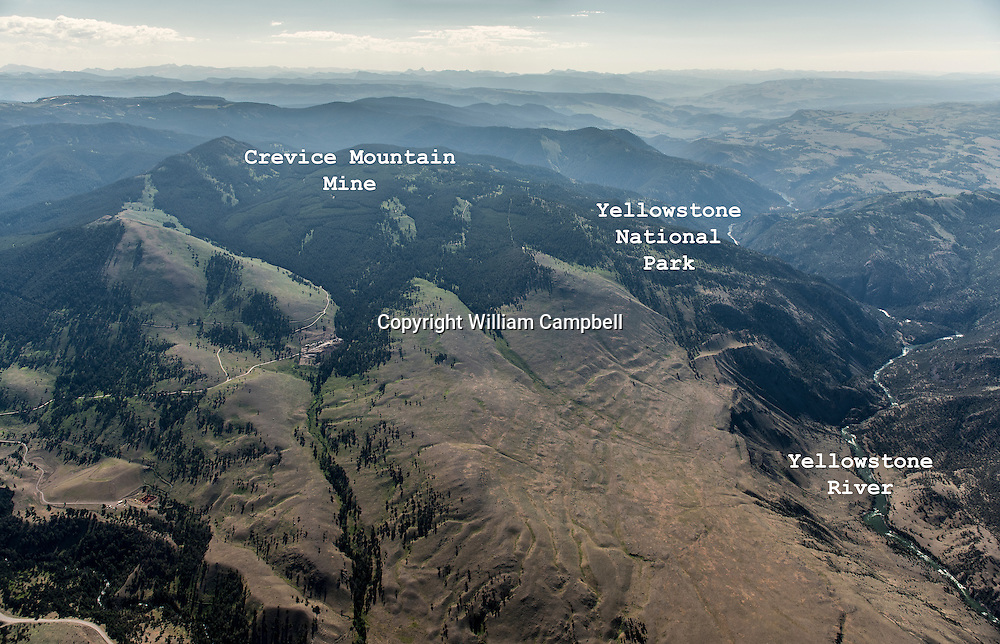 Location of proposed Crevice Mountain Mine along the northern border of Yellowstone National Park with Decker Flats in the foreground. (labeled)