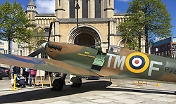 A full-scale replica Spitfire bearing the name Down (after Co Down) is displayed outside St Anne's Cathedral, ahead of an event marking the RAF's centenary at St Anne's Cathedral in Belfast.