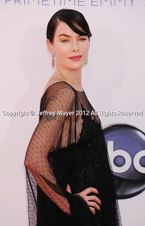 LOS ANGELES, CA - SEPTEMBER 23: Lena Headey arrives at the 64th Primetime Emmy Awards at Nokia Theatre L.A. Live on September 23, 2012 in Los Angeles, California.