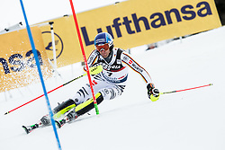 """Fritz Dopfer (GER) competes during 1st Run of FIS Alpine Ski World Cup 2017/18 Men's Slalom race named """"Snow Queen Trophy 2018"""", on January 4, 2018 in Course Crveni Spust at Sljeme hill, Zagreb, Croatia. Photo by Vid Ponikvar / Sportida"""