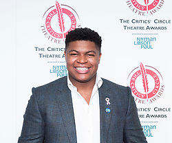 The 2019 Critics' Circle Theatre Awards at The Prince of Wales Theatre, London, Great Britain <br /> 11th February 2020 <br /> <br /> <br /> <br /> The Peter Hepple Award for Best Musical – 'Come From Away', <br /> Tarinn Callender<br /> @ComeFromAwayUK<br /> <br /> <br />  <br /> Photograph by Elliott Franks