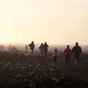 Hikers on the trail to Piton de la Fournaise volcano, Reunion Island