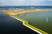 Nederland, Zeeland, Gemeente Reimerswaal, 01-04-2016; Markiezaatskade met Markiezaatsmeer, in de voorgrond Schelde-Rijnverbinding. Bergen op Zoom en Zoommeer  in de achtergrond. De Markiezaatskade is oorspronkelijk aangelegd als hulpdam voor de bouw van de Oesterdam. Speelt belangrijke rol in de zoetwaterhuishouding.<br /> <br /> Markiezaatskade, division between salt and sweet water, part of the Delta Works.<br /> <br /> luchtfoto (toeslag op standard tarieven);<br /> aerial photo (additional fee required);<br /> copyright foto/photo Siebe Swart