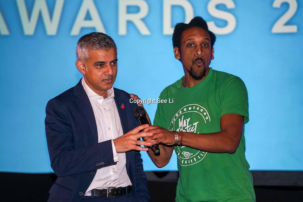London, UK. 31th October, 2016. May Project Camden, KMT Freedom Teacher and Sadiq Khan The Mayor of London ceremony Team London Awards at City Hall, London,UK. Photo by See Li