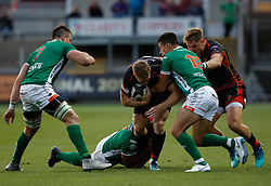 Dragons' Jack Dixon under pressure from Benetton Treviso's Tommaso Allan<br /> <br /> Photographer Simon King/Replay Images<br /> <br /> Guinness PRO14 Round 1 - Dragons v Benetton Treviso - Saturday 1st September 2018 - Rodney Parade - Newport<br /> <br /> World Copyright © Replay Images . All rights reserved. info@replayimages.co.uk - http://replayimages.co.uk