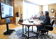 032720 Spanish Royals attend a videoconference at Zarzuela Palace