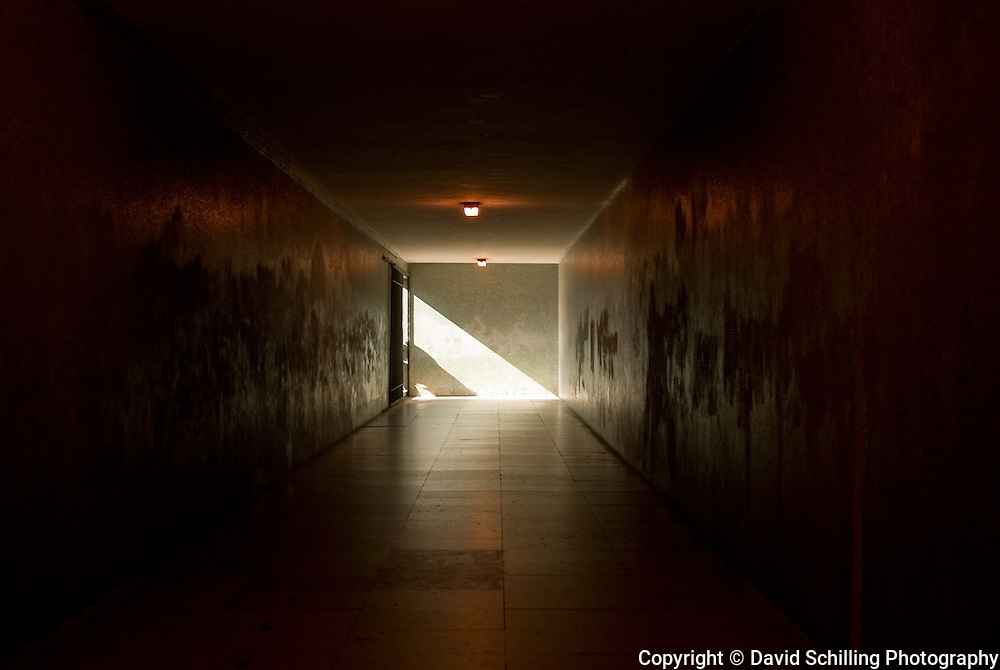 Shaft of light in tunnel