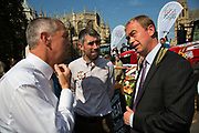 MP Tim Farron at the National Farmers Union NFU took machinery, produce, farmers and staff to Westminster to encourage Members of Parliament to back British farming, post Brexit on 14th September 2016 in London, United Kingdom. MPs were encouraged to sign the NFU's pledge and wear a British wheat and wool pin badge to show their support.