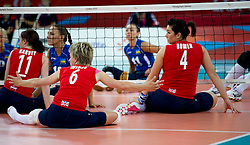 © Licensed to London News Pictures. 31/08/2012, The Paralympics women's sitting volleyball competition got under way this morning at the Excel Centre in London.   The team were beaten by the Ukrainian team who are currently ranked third in the world. Members of the team include Vice-captain Martine Wright who survived the 7/7 terrorist attacks in London and Sam Bowen an Iraqi war veteran (pictured right).  Photo credit : Alison Baskerville/LNP