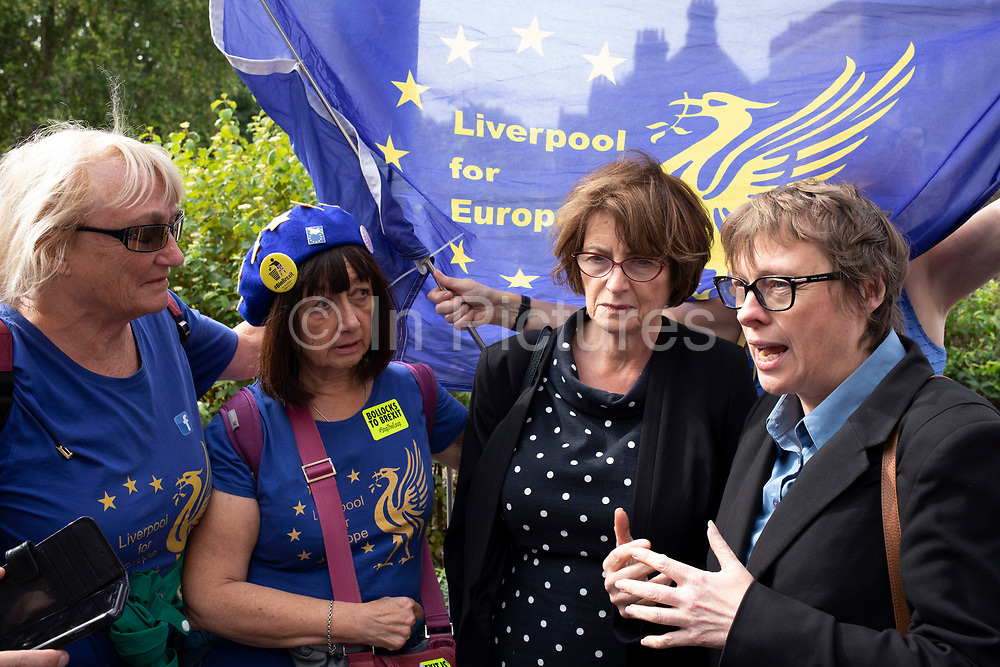 Anti Brexit protesters speak with labour MPs Louise Ellman MP and Maria Eagle MP in Westminster on the day after Parliament voted to take control of Parliamentary proceedings and prior to a vote on a bill to prevent the UK leaving the EU without a deal at the end of October, on 5th September 2019 in London, England, United Kingdom. Yesterday Prime Minister Boris Johnson faced a showdown after he threatened rebel Conservative MPs who vote against him with deselection, and vowed to aim for a snap general election if MPs succeed in a bid to take control of parliamentary proceedings to allow them to discuss legislation to block a no-deal Brexit.