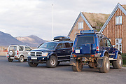 4x4 vehicles in different sizes at Modradalur, Iceland