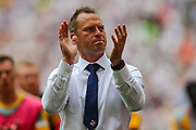 Newport County manager Michael Flynn thanks the visiting fans after the EFL Sky Bet League 2 Play Off Final match between Newport County and Tranmere Rovers at Wembley Stadium, London, England on 25 May 2019.