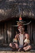 Dani tribe man (Marianus)<br /> Jiwika village<br /> Suroba<br /> Trikora Mountains<br /> West Papua<br /> Indonesia