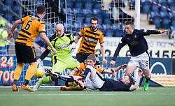 Alloa Athletic's keeper Scott Gallagher saves from Falkirk's Bob McHugh. <br /> Falkirk 2 v 0 Alloa Athletic, Scottish Championship game played 5/3/2016 at The Falkirk Stadium.