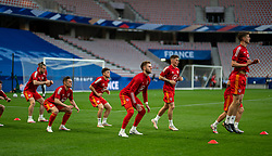 NICE, FRANCE - Wednesday, June 2, 2021: Wales' Connor Roberts, Daniel James, Joe Rodon and Harry Wilson during the pre-match warm-up before an international friendly match between France and Wales at the Stade Allianz Riviera ahead of the UEFA Euro 2020 tournament. (Pic by Simone Arveda/Propaganda)