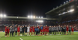 BRITAIN-LIVERPOOL-FOOTBALL-UEFA CHAMPIONS LEAGUE-LIVERPOOL VS FC BARCELONA..(190507) -- LIVERPOOL, May 7, 2019  Liverpool's players and staff celebrate after the UEFA Champions League Semi-Final second Leg match between Liverpool FC and FC Barcelona at Anfield in Liverpool, Britain on May 7, 2019. Liverpool won 4-3 on aggregate and reached the final. FOR EDITORIAL USE ONLY. NOT FOR SALE FOR MARKETING OR ADVERTISING CAMPAIGNS. NO USE WITH UNAUTHORIZED AUDIO, VIDEO, DATA, FIXTURE LISTS, CLUBLEAGUE LOGOS OR ''LIVE'' SERVICES. ONLINE IN-MATCH USE LIMITED TO 45 IMAGES, NO VIDEO EMULATION. NO USE IN BETTING, GAMES OR SINGLE CLUBLEAGUEPLAYER PUBLICATIONS. (Credit Image: © Xinhua via ZUMA Wire)