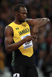 Jamaica's Usain before the men's 100m final during day two of the 2017 IAAF World Championships at the London Stadium.