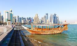 20.01.2015, Doha, QAT, FIFA WM, Katar 2022, Vorberichte, im Bild ein altes Schiff vor der Skyline von Doha // Preview of the FIFA World Cup 2022 in Doha, Qatar on 2015/01/20. EXPA Pictures © 2015, PhotoCredit: EXPA/ Sebastian Pucher
