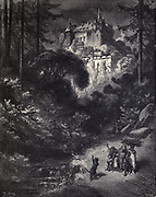 "The abode, I suppose of a man of position? The Palace said they of a Mighty Magician"" Illustration from 'Puss in Boots' by Paul Gustave Doré (1832-1883). From the book Fairy realm. A collection of the favourite old tales. Illustrated by the pencil of Gustave Dore by Tom Hood, (1835-1874); Gustave Doré, (1832-1883) Published in London by Ward, Lock and Tyler in 1866"