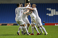 Duncan Watmore (Sunderland), England U21 is congratulated as he makes England 2-1 up during the UEFA European Championship Under 21 2017 Qualifier match between England and Switzerland at the American Express Community Stadium, Brighton and Hove, England on 16 November 2015. Photo by Phil Duncan.