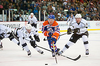 KELOWNA, CANADA - OCTOBER 2: Connor McDavid #97 of the Edmonton Oilers skates with the puck against Los Angeles Kings on October 2, 2016 at Kal Tire Place in Vernon, British Columbia, Canada.  (Photo by Marissa Baecker/Shoot the Breeze)  *** Local Caption *** Connor McDavid;