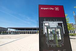 View of deserted Berlin Brandenburg Willi-Brandt Airport Terminal uncompleted and 7 years behind schedule in Berlin Germany