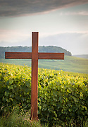 Cross in vineyard in Le Mesnil-sur-Oger, France