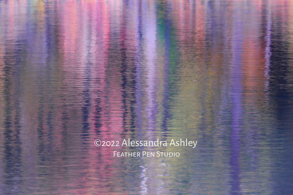 Abstract, autumn foliage reflections in lake, twilight tones. Photographed at North Chagrin Reservation, Cleveland Metroparks.