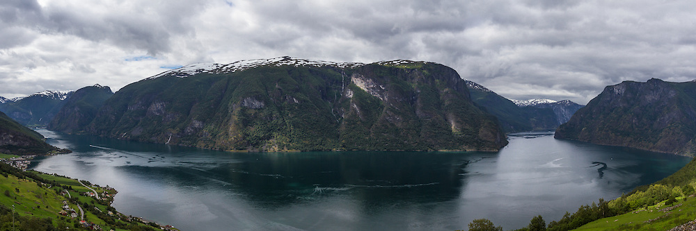 Panorama of Flam, Aurland and Aurlandsfjord from Stegastein viewpoint, Aurland - Norway, August
