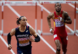 Pascal Martinot-Lagarde of France and Yidiel Contreras of Spain compete in the 60m Hurdles Men Heats on day one of the 2017 European Athletics Indoor Championships at the Kombank Arena on March 3, 2017 in Belgrade, Serbia. Photo by Vid Ponikvar / Sportida