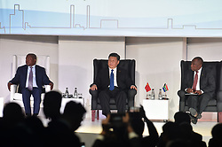 Deputy President David Mabuza, China's President Xi Jinping and South Africa's President Cyril Ramaphosa gestures during the 10th BRICS Summit at the Sandton Convention Centre, Johannesburg.<br /> Picture: Itumeleng English/African News AgencyANA