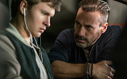 Buddy (JON HAMM) confronts Baby (ANSEL ELGORT) in TriStar Pictures' BABY DRIVER.