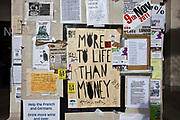 More to life than money poster at Occupy London OSLX, St Pauls Catherdral, London.