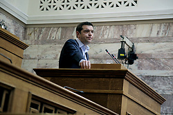 May 4, 2017 - Athens, Greece - Prime Minister Alexis Tsipras addresses lawmakers of the SYRIZA parliamentary group, at Parliament in Athens on May 5, 2017  (Credit Image: © Panayotis Tzamaros/NurPhoto via ZUMA Press)