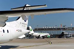 22.08.2011, Flughafen, Bremen, GER, Feature Flughafen Bremen, im Bild Dornier 328 der Fluggesellschaft Cirrus Airlines auf dem Vorfeld, im Hintergrund ein Airbus von Germania..// on 2011/08/22, Airport, Bremen, Germany..EXPA Pictures © 2011, PhotoCredit: EXPA/ nph/  Frisch       ****** out of GER / CRO  / BEL ******