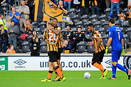 Hull City striker Abel Hernandez (10) scores a goal to make the score 4-1 and get a hatrick of goals, and celebrates during the EFL Sky Bet Championship match between Hull City and Burton Albion at the KCOM Stadium, Kingston upon Hull, England on 12 August 2017. Photo by Richard Holmes.