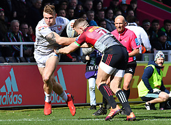Gloucester's Jason Woodward breaks free to score the first try during the Gallagher Premiership match at Twickenham Stoop, London.