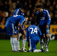 Photo: Jed Wee/Sportsbeat Images.<br /> Hull City v Chelsea. Carling Cup. 26/09/2007.<br /> <br /> Chelsea's second goal is tempered by concern for Shaun Wright-Phillips, who is forced off the pitch with an injury.