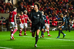 Leroy Sane of Manchester City celebrates after scoring his sides first goal - Mandatory by-line: Joe Meredith/JMP - 23/01/2018 - FOOTBALL - Ashton Gate Stadium - Bristol, England - Bristol City v Manchester City - Carabao Cup Semi Final second leg