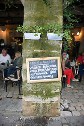 Covid Pass Sanitaire (Covid Passport) sign outside bar in Uzes, Gard, Southern France, 2021