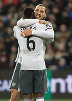 Football - 2016 / 2017 Premier League - West Ham United vs. Manchester United<br /> <br /> Zlatan Ibrahimovic and Paul Pogba after Manchester United's second goal at The London Stadium.<br /> <br /> COLORSPORT/DANIEL BEARHAM