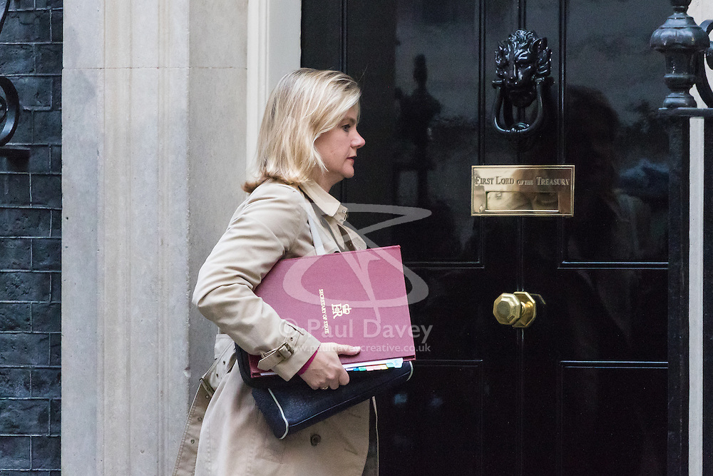 Downing Street, London, October 25th 2016. Education Secretary Justine Greening arrives at 10 Downing Street for the weekly cabinet that follows a Heathrow Third Runway Sub-Committee meeting at the same venue.